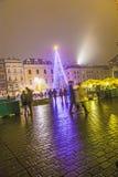 Christmas Market at Rynek Glowny Square in Krakow Stock Photos