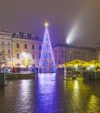 Christmas Market at Rynek Glowny Square in Krakow Stock Images