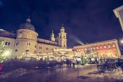 Christmas market in Salzburg, Austria. Christmas market fair outside decoration holiday magical sphere salzburg square cathedral trip city europe austria panache stock photography