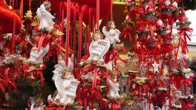 Christmas market at Schloss Hellbrunn, Salzburg, Austria. Beautiful decorations at the Christkindlmarkt in Salzburg Hellbrunn, Austria, Europe stock video footage