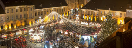Christmas market in Sibiu, Romania royalty free stock photos