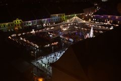 Christmas Market in Sibiu, Romania, view from above stock image