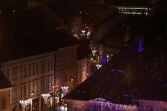 Christmas Market in Sibiu, Romania, view from above royalty free stock photos