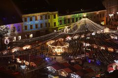 Christmas Market in Sibiu, Romania, view from above stock photos