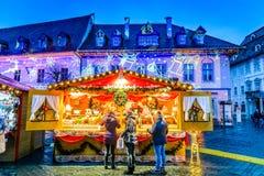 Christmas Market in Sibiu, Transylvania, Romania. SIBIU, ROMANIA - 18 NOVEMBER 2017: Sibiu Christmas Market, largest in Romania, Transylvania landmark Royalty Free Stock Images