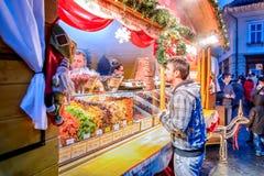 Christmas Market in Sibiu, Transylvania, Romania. SIBIU, ROMANIA - 18 NOVEMBER 2017: Sibiu Christmas Market, largest in Romania, Transylvania landmark in Europe Stock Photo