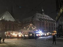 German Christmas Market in the snow royalty free stock photography