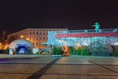 Christmas market on Sophia Square in Kyiv, Ukraine. Beautifully decorated square with a different of attractions for children. Early morning view Royalty Free Stock Photos