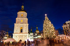 Christmas market on Sophia Square in Kyiv, Ukraine. Main Kyiv's New Year tree and Saint Sophia Cathedral on the background stock image