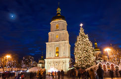 Christmas market on Sophia Square in Kyiv, Ukraine. Main Kyiv's New Year tree and Saint Sophia Cathedral on the background Stock Photography