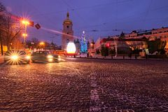 Christmas market on Sophia Square. Main New Year tree and Tower of Saint Sophia Cathedral at the background. Kyiv, Ukraine-JANUARY 20, 2018: Christmas market on Stock Image