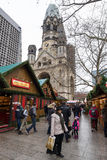 Christmas market on the square near the Kaiser Wilhelm Memorial Church Royalty Free Stock Photos