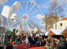 Christmas market on square Vismet in Brussels Stock Image