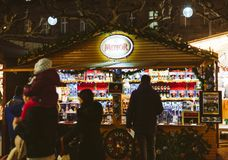 Christmas Market stall chalet selling multiple types of alcoholi Royalty Free Stock Photo