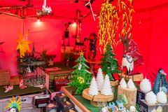 Christmas market stall on a fair in the center of Leiden in The Netherlands. Stock Image