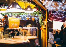 Christmas Market stall selling traditional hot french wine mulle Stock Images