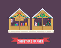 Christmas Market Stall. S with New Year gifts. Xmas gift shops with garlands, souvenirs and decoration. Christmas fair wooden kiosks vector illustration Stock Photography