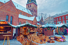Christmas market stall with straw basket souvenirs displayed for Royalty Free Stock Photography