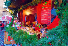 Christmas market stall with traditional seasonal treats Stock Images