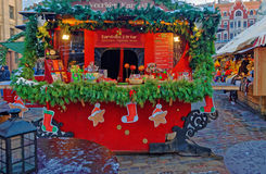 Christmas market stall with traditional seasonal treats in Old R Stock Image