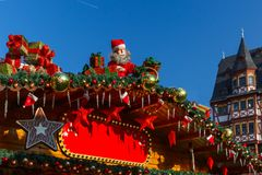 Christmas Market in Strasbourg, Alsace, France. Santa Claus, Christmas tree and toys at a Christmas souvenir market shop in Strasbourg, Alsace, France Royalty Free Stock Image