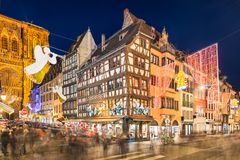 Christmas market in Strasbourg, France stock photography