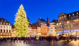Christmas market in Strasbourg, France. At night Stock Image