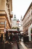 Christmas market in the street, Budapest, Hungary royalty free stock images