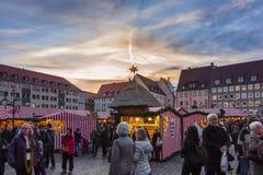 Christmas Market -sunset sky- Nuremberg-Germany Royalty Free Stock Photography