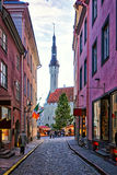 Christmas market in Tallinn. Christmas market in the end of the street at city hall square in Tallinn Royalty Free Stock Image