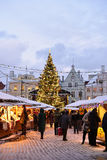 Christmas market in Tallinn. TALLINN, ESTONIA - JANUARY 03, 2017: Unidentified people are shopping in old town in Christmas market in Tallinn Royalty Free Stock Images