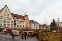 Christmas market at Tallinn`s Town Hall Square. TALLINN, ESTONIA- December 29, 2013: Christmas market at Tallinn`s Town Hall Square. Tallinn is a capital and Stock Images