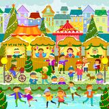 Christmas Market In Town. Colorful Christmas market in a European town Stock Image