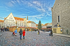 Christmas market in the Town Hall square in the Old city of Tall Stock Image