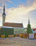 Christmas market in the Town Hall square in the Old city in Tall Stock Photography
