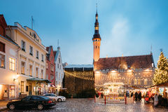 Christmas Market On Town Hall Square In Tallinn, Estonia. Christmas Stock Images