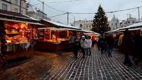 Christmas market on Town Hall Square in Tallinn stock video footage