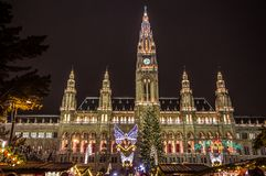 Christmas market at town hall in Vienna Stock Photo