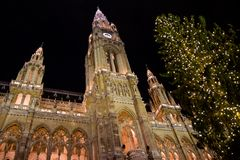 Christmas market at town hall in Vienna Royalty Free Stock Image