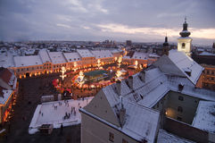Christmas market, tree and lights in Sibiu Stock Photos