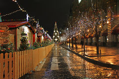 Christmas Market and tree on Red Square, Moscow, by night. Stock Photo