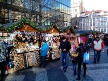Christmas market on Vaclavske namesti, Prague, Czech Republic Stock Photo