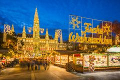 Christmas market in Vienna, Austria. Christmas market in front of the City Hall in Vienna, Austria stock images