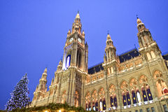 Christmas Market, Vienna Rathaus, Austria Royalty Free Stock Images