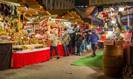 Christmas market in Vorosmarty Square in Budapest, Hungary. royalty free stock images