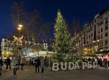 Christmas Market at Vorosmarty Square in Budapest, Hungary Royalty Free Stock Images