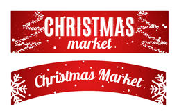 Christmas market winter hanging long Banner. Christmas market winter hanging long Banner set. Vector illustration, ideal for greeting card or elegant holiday Stock Image