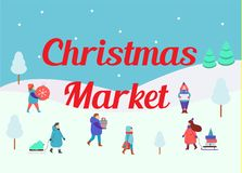 Christmas market. Winter people small figures. Men and women carry New Year gifts. Winter seasonal market. Christmas market. Winter people small figures. Men and stock illustration