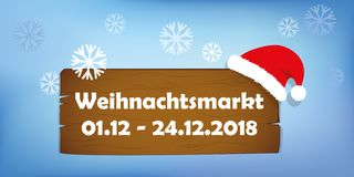 Christmas market wooden sign with santa cap on snowy background vector illustration
