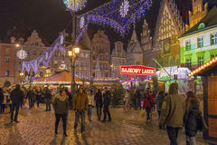 Christmas market in Wroclaw, Poland Royalty Free Stock Photos